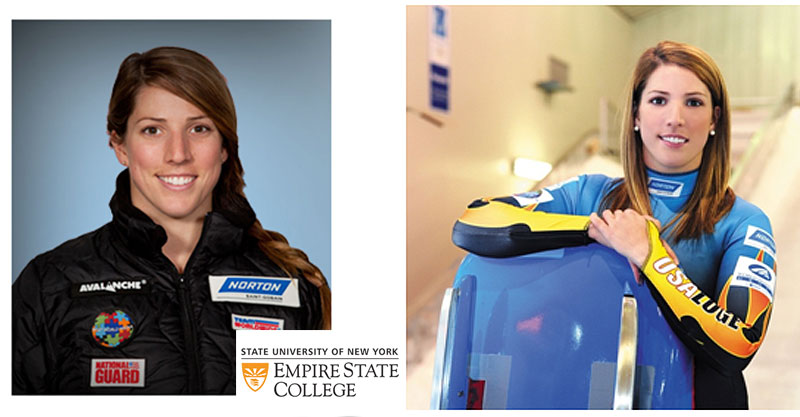 Erin Hamelin at Empire State College and in olympic uniform