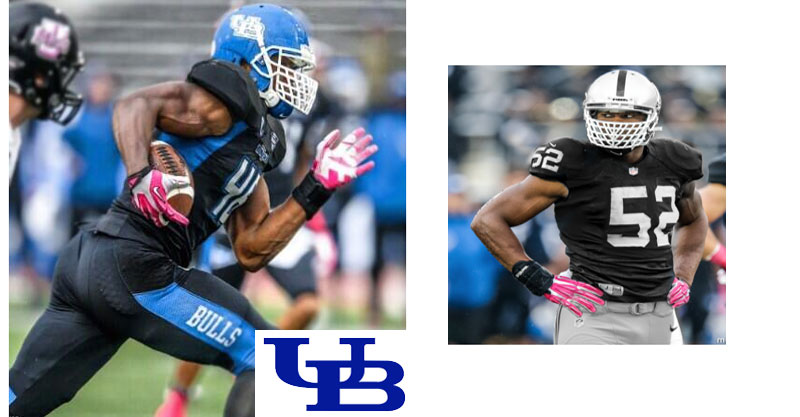 Khalil Mack in uniform at University at Buffalo and with the Oakland Raiders