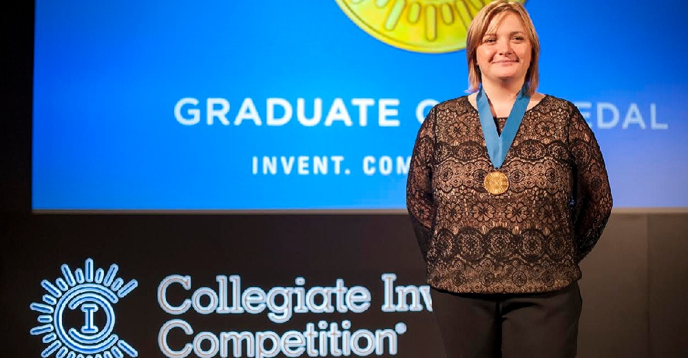 Stony Brook University graduate, Katarzyna (Kasia) M. Sawicka, PhD ('04, '05, '14), at the national Collegiate Inventors Competition for her invention. Photo Credit: Amando Carigo, Collegiate Inventors Competition.