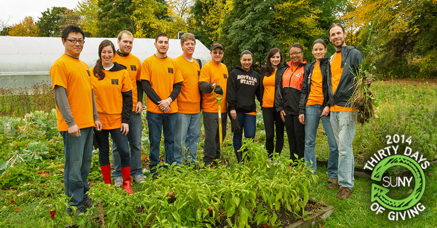 Students at SUNY Buffalo State work in a community garden.