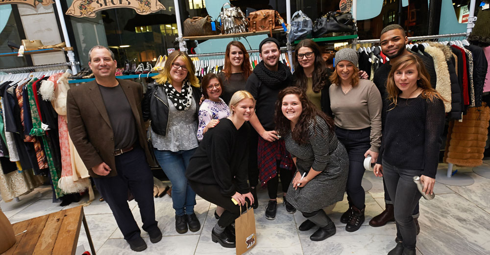 FIT students at the second annual Holiday Pop-Up Shop in support of cancer care and research.