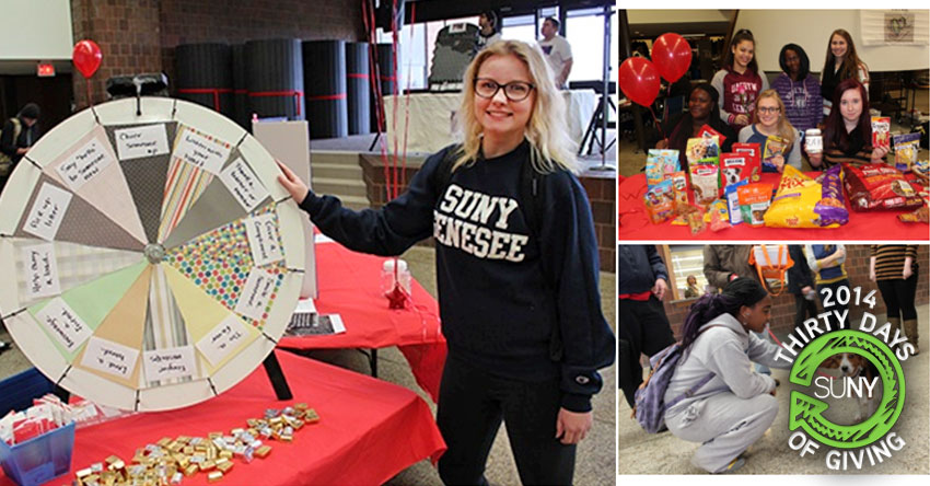 Genesee Community College RAKtivists at a raffle wheel, food drive, and working with dogs.