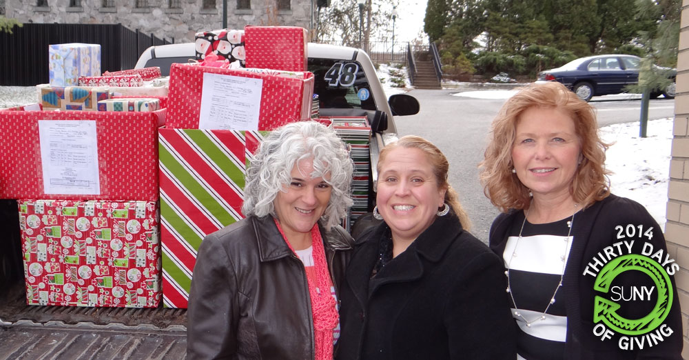 Gifts loaded onto a pickup truck for the Adopt-a-family effort at SUNY Orange