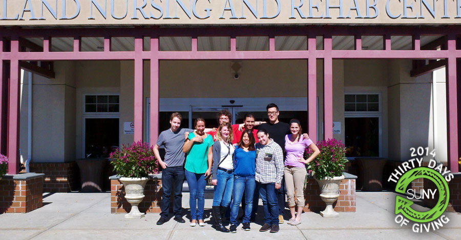 Suffolk County Community College students at the Island Nursing and Rehabilitation Center in Holtsville, New York.