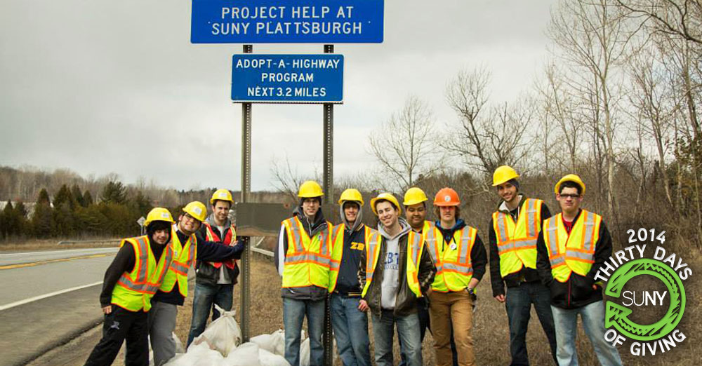 SUNY Plattsburgh students during their Adopt-a-Highway clean-up day activities.