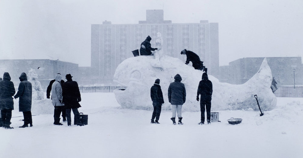 """Students take part in creating snow figures at their annual event """"Winterfest""""."""