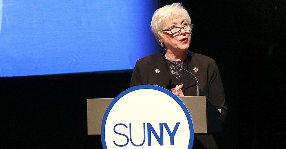 Chancellor Nancy Zimpher delivers 2015 State of the University address from her podium.
