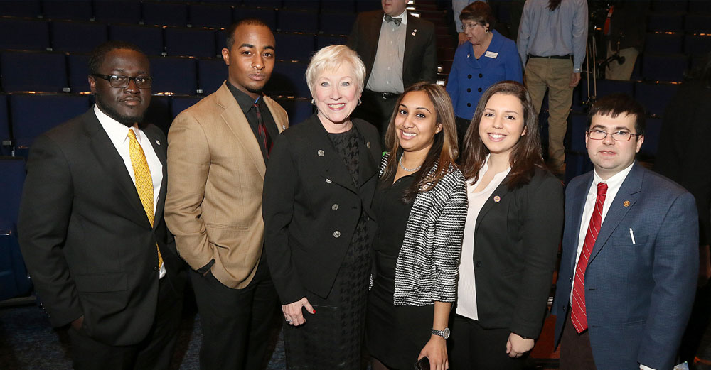 Chancellor Zimpher poses with SUNY students after the 2015 State of the University Address