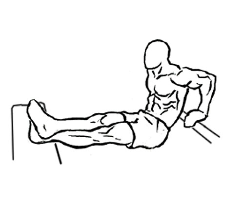 Person doing dips exercise.
