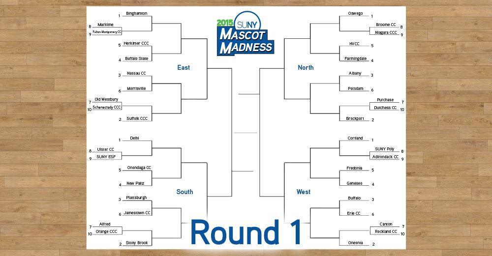 2015 Mascot Madness round 1 bracket image