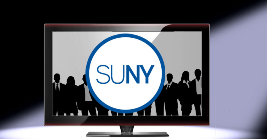 Big screen tv with actors and SUNY logo