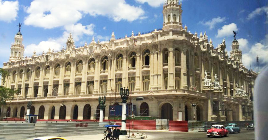 White stone building in Cuba