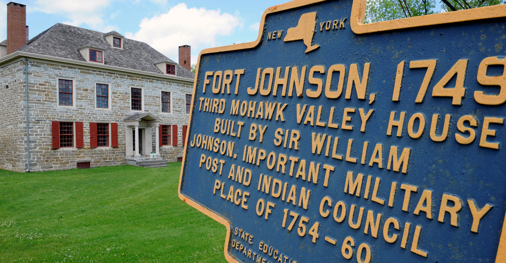 Old Fort Johnson building and sign.
