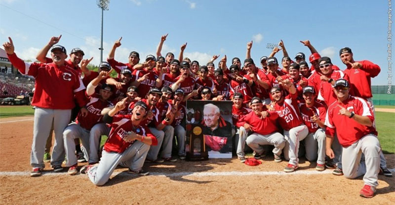 SUNY Cortland mens baseball team celebrates the 2015 DIII national championship.