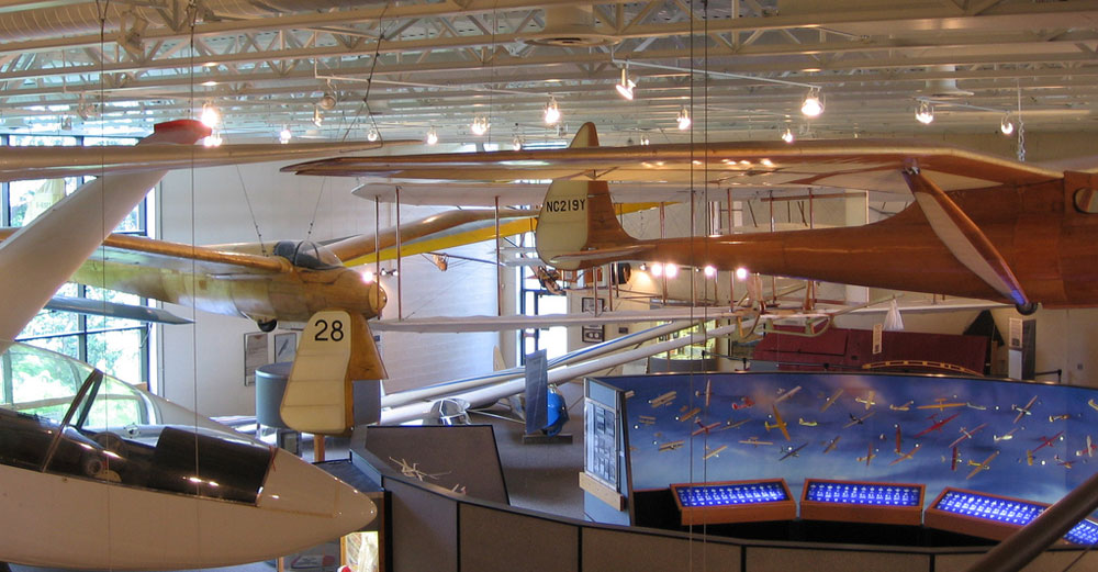 View of the old planes inside the National Soaring Museum