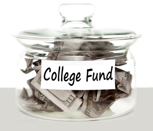 Glass jar filled with money with a label marked College Fund on it.