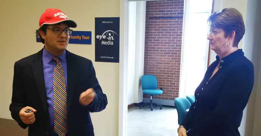 Jeff SInger of Eye-In Media tours SUNY Plattsburgh office space with Leslie Whatley of START-UP NY