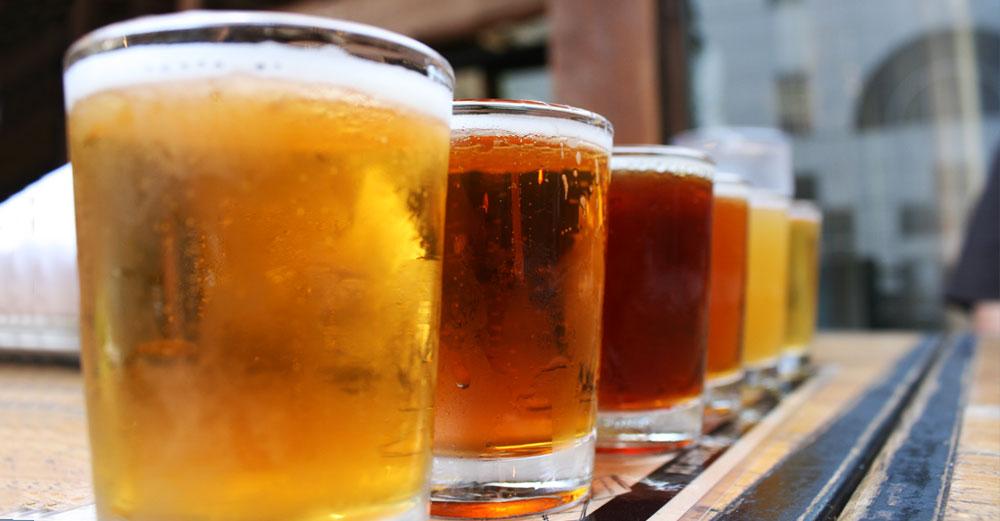 beer sampler in glasses