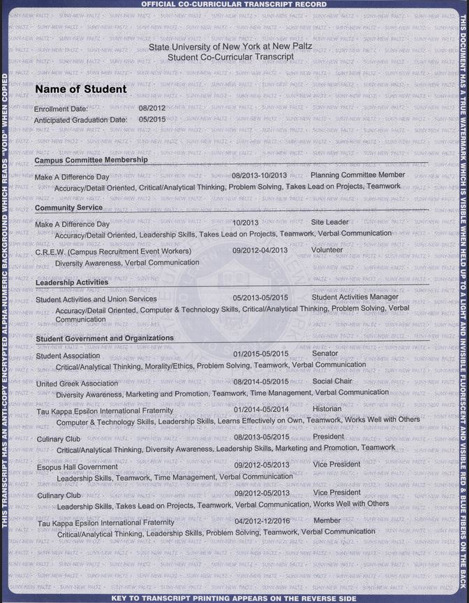 SUNY New Paltz co-curricular transcript sample