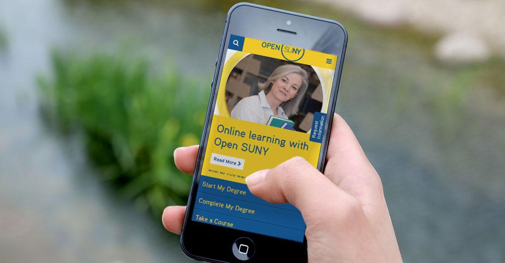 Open SUNY website on smartphone