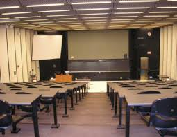 Empty classroom lecture hall.
