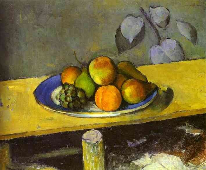 Old painting of fruit on plate on yellow table.