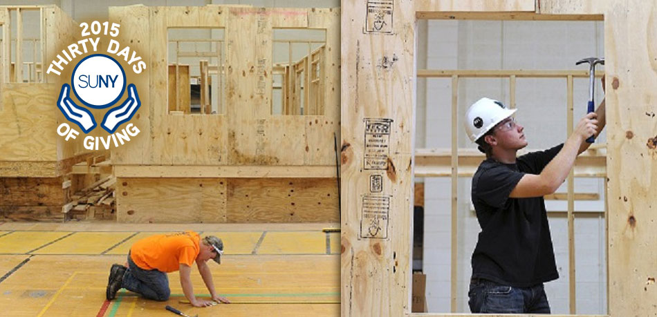 Students at Hudson Valley Community College build walls for a house for Habitat for Humanity