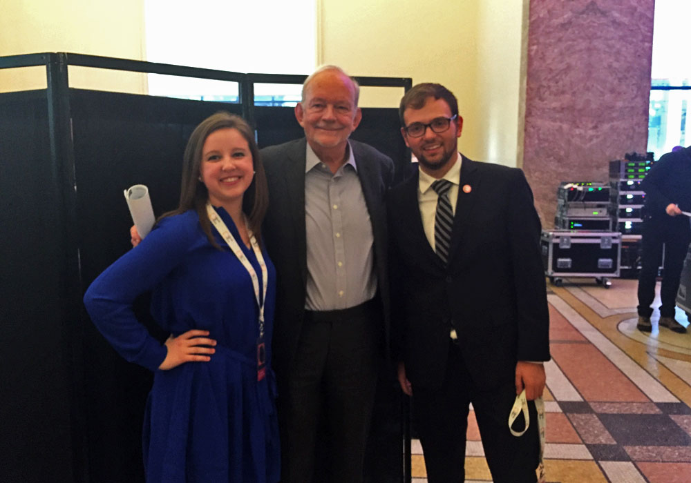 SUNY Student Assembly members Morgan Wood and Zach Beaudoin pose with UNICEF CEO Anthony Lake