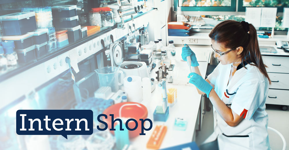 Female student in science lab with InternShop logo