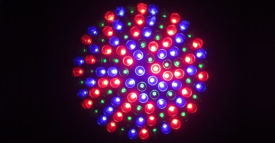 Red, blue, green LED lights in a sphere shape..