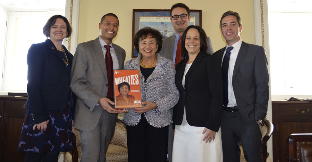 Congresswoman Nita Lowey wih college reps in office.
