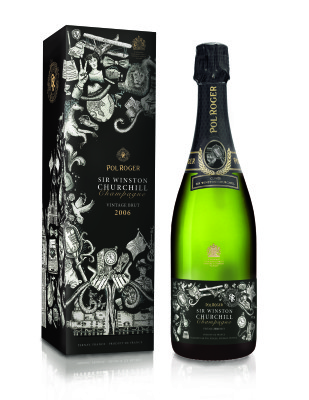 FIT student design of a package for a champagne bottle which commemorated the life of Winston Churchill.