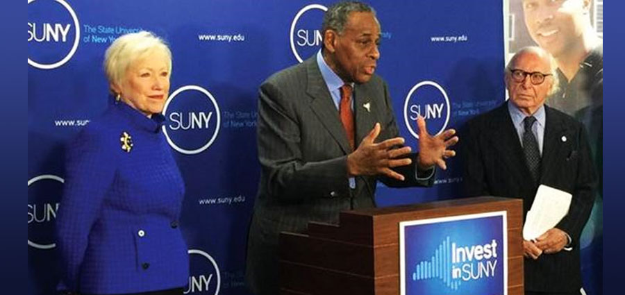SUNY Board of Trustees Chairman Carl McCall, Chancellor Zimpher, and board member Carl Spielvogel at press conference