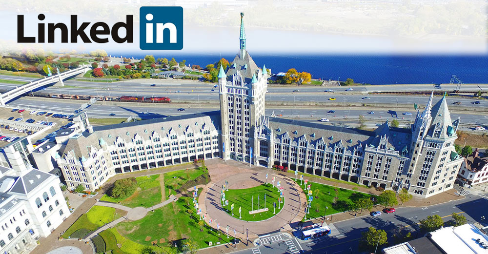 LinkedIn logo over SUNY plaza aerial view picture