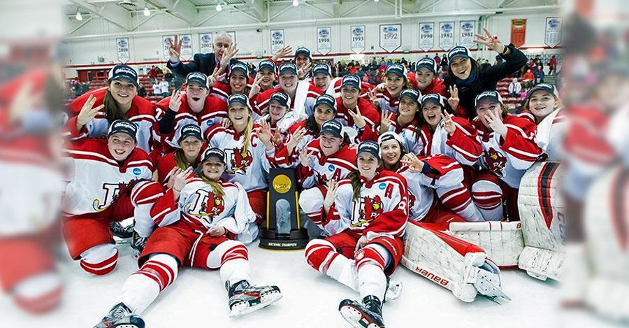 SUNY Plattsburgh women's hockey team celebrates winning the NCAA DIvision III title in 2016.