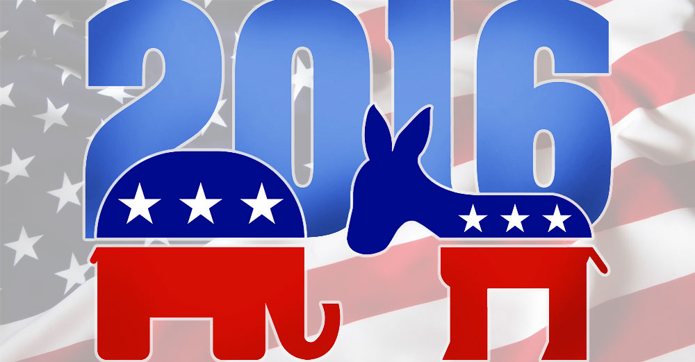 2016 Democrat and Republican party logos in front of American Flag