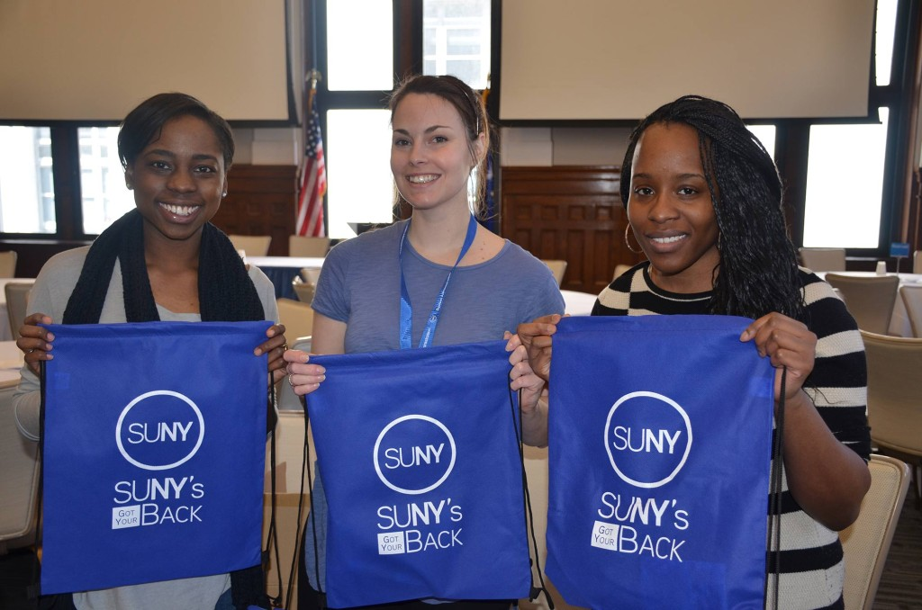 Volunteers filled more than 2500 bags to give to SUNY campuses for the SUNY's Got Your Back effort.