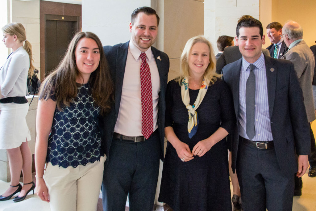 Senator Kirsten Gillibrand stands with Student Assembly leaders.