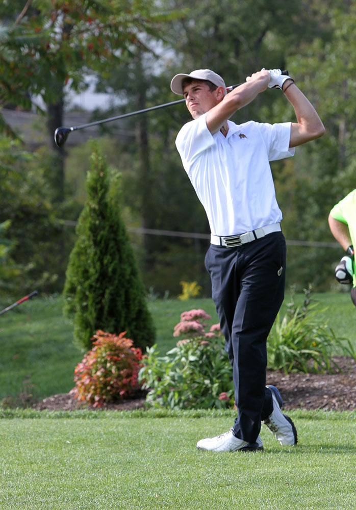 Samuele Riva, of Farmingdale State College, hits a tee shot on the golf course.