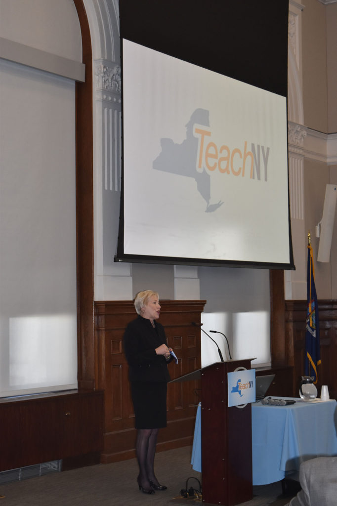 Chancellor Zimpher speaks during the TeachNY event at SUNY Plaza.