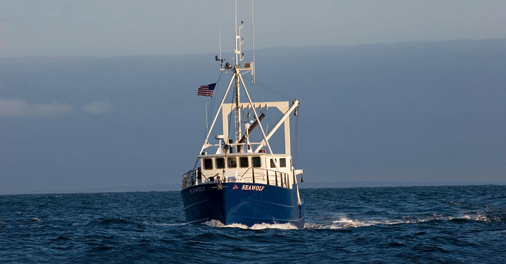 Stony Brook's University boat, named Seawolf, out in the Atlantic Ocean.