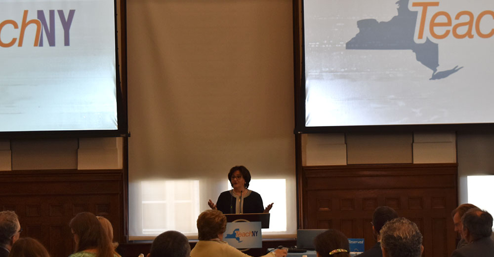 NYS Department of Education commissioner MaryEllen Elia speaks at the TeachNY launch at SUNY Plaza.
