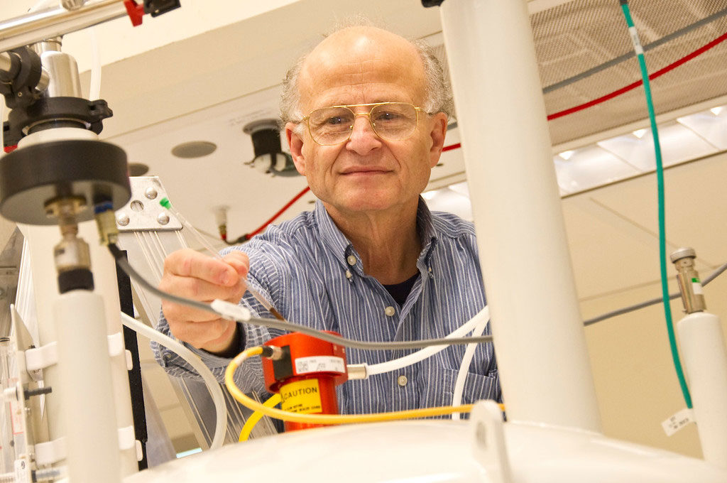 Paul Agris, professor of biological sciences and chemistry and director of The RNA Institute at the University at Albany, works in the lab.