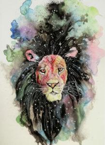 Ashley Bennett of SUNY Oswego's mixed media work titled Leo, 2015