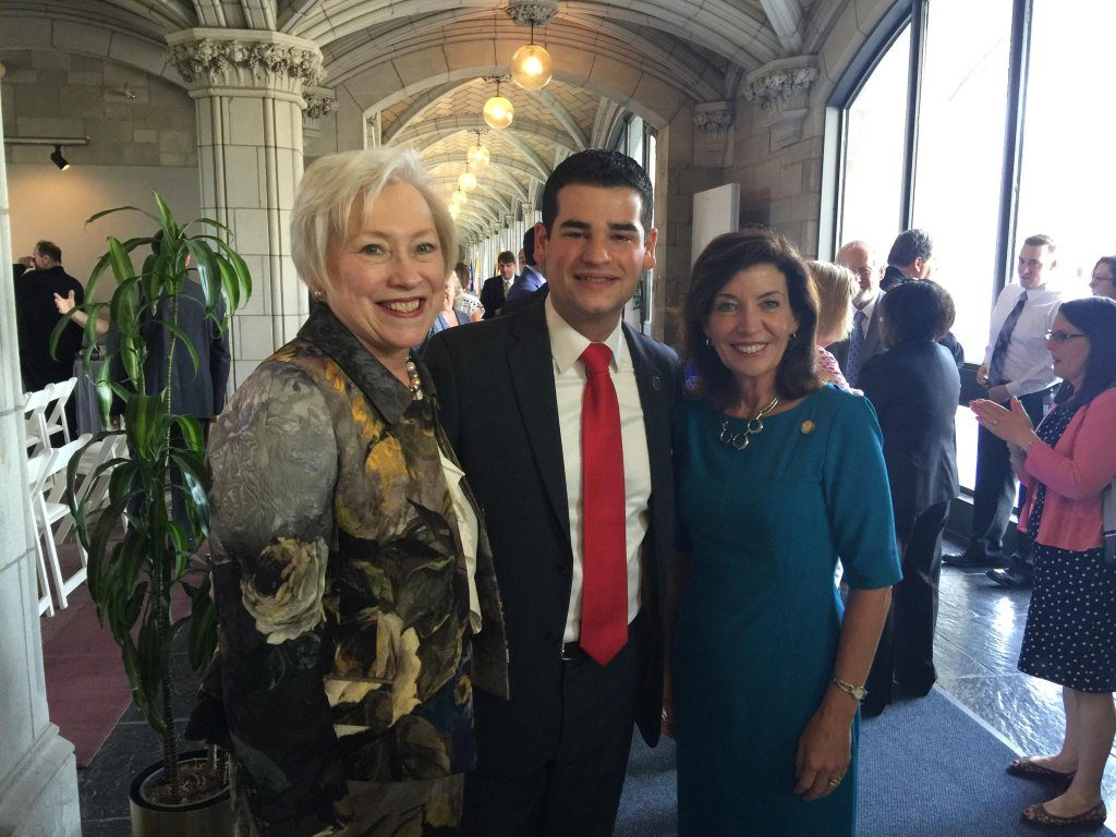 Trustee Marc Cohen with Chancellor Nancy Zimpher (left) and Lieutenant Governor Kathy Hochul (right) at State University Plaza on the day of Trustee Cohen's formal swearing-in ceremony.