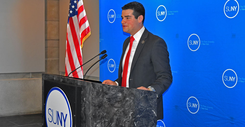 Student Assembly president Marc Cohen speaks during his official swearing in at SUNY Plaza.