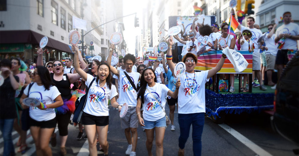 SUNY marching at the NYC Pride Parade.