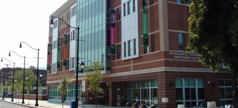 A Binghamton University downtown campus brick building.