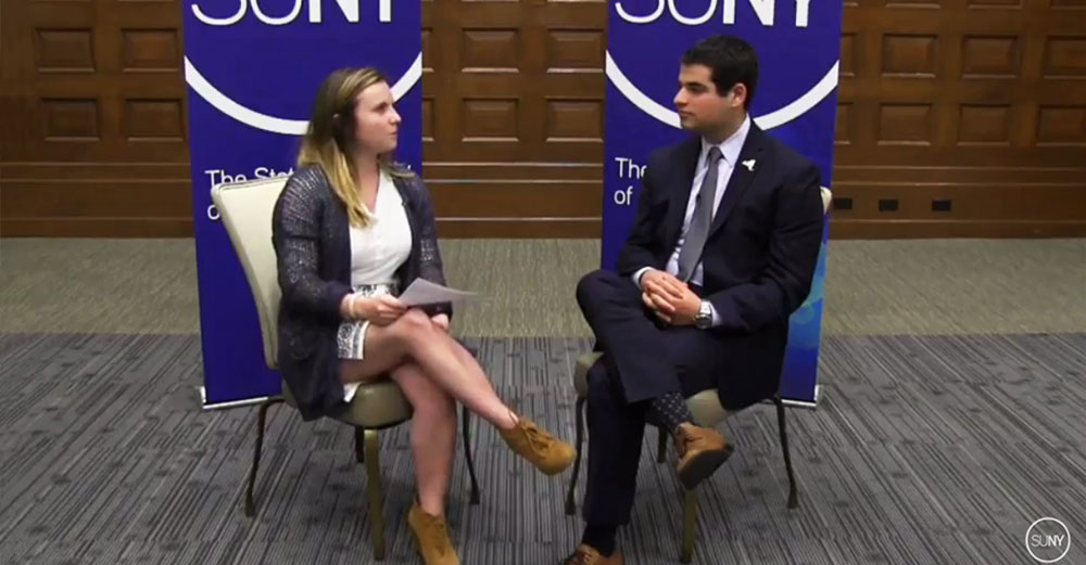Student Assembly president Marc Cohen in a sit down interview with student Jenna Colozza.