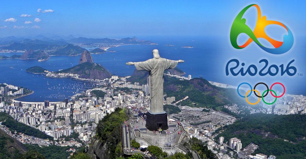 Rio de Janeiro aerial picture with 2016 Olympics logo